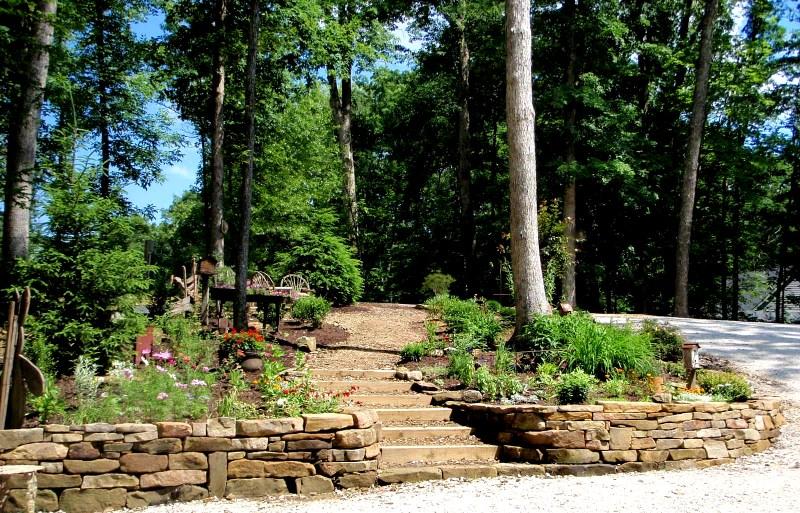 Stone Retaining Wall w/ Perennial Plantings