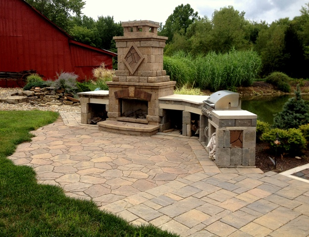 Patio W/ Fireplace And Built In Grill Top
