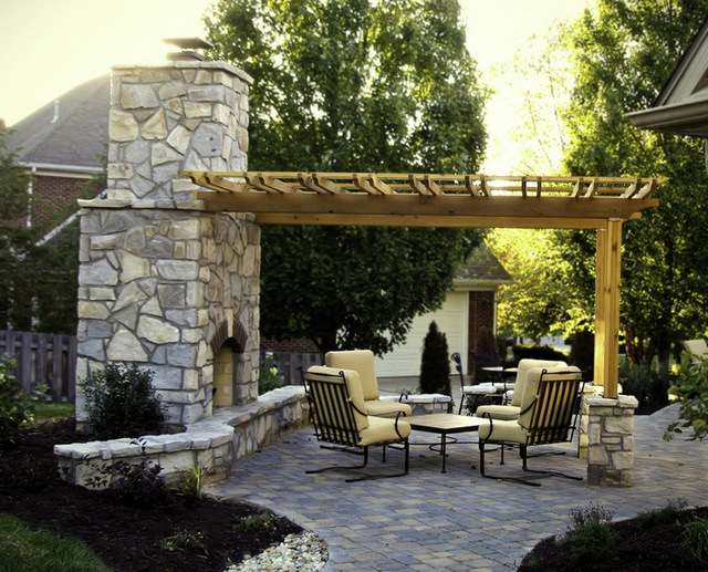 Large Fireplace w/ Shade Arbor