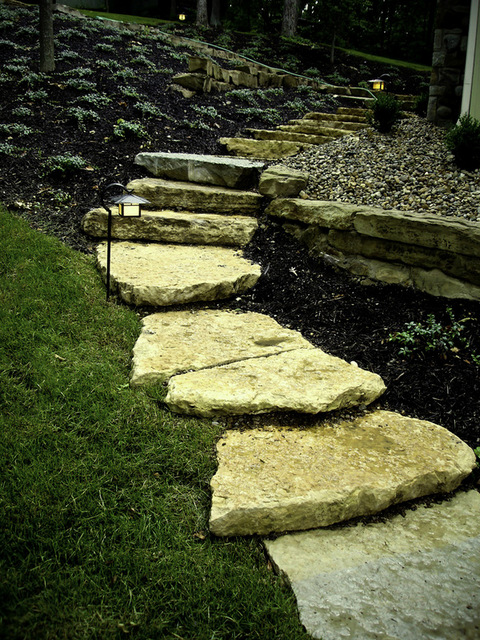 These steps are broken limestone that are rough on the top and bottom providing additional traction  while walking.