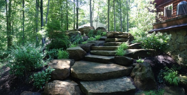 designscape, hardscaping, sandstone, natural stone steps, lake cabin, nashville indiana,